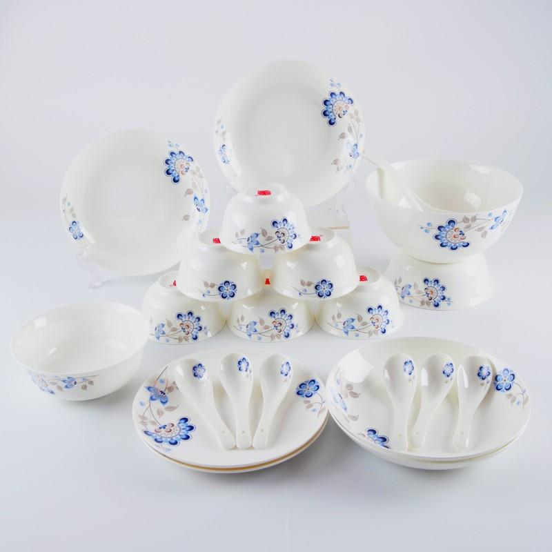 【盛世唐韵】骨质瓷餐具22头餐具套装兰孔雀花|微迪兰诗TY-0022