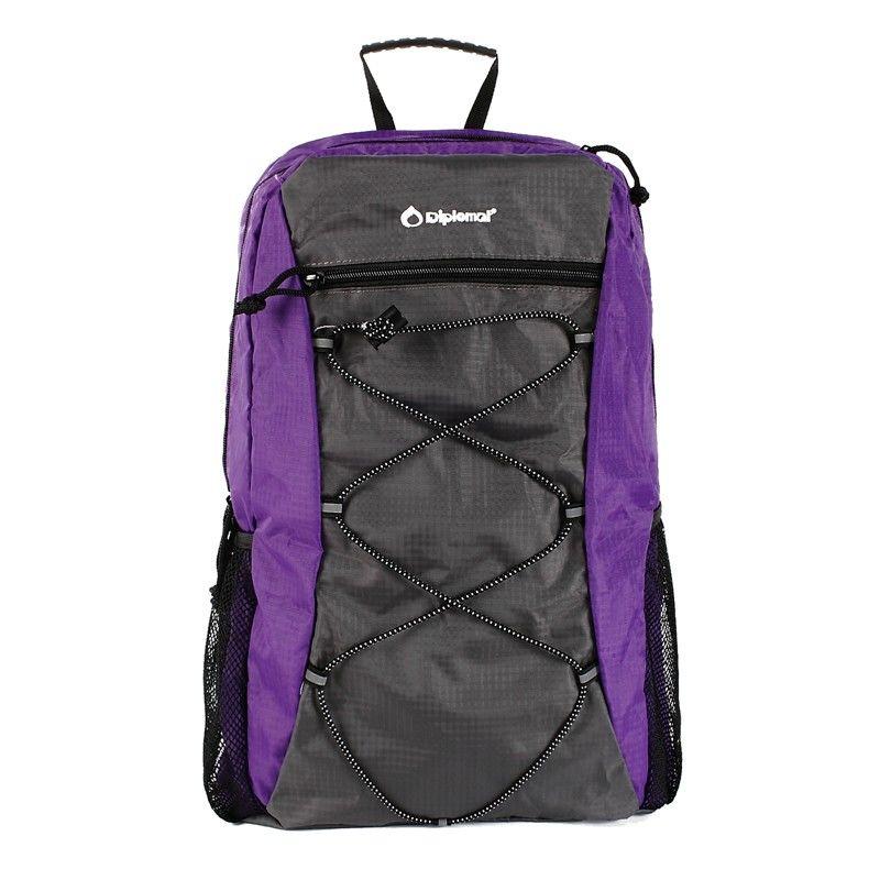 【外交官】Diplomat 尼龙面料 可折叠背包  紫色+灰色 DS-1270L
