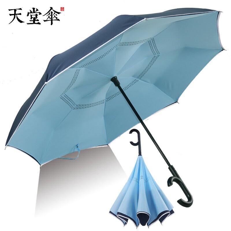 【天堂伞】汽车载车用雨伞男士半自动开收反向伞女晴雨两用折叠伞休闲时光13047E