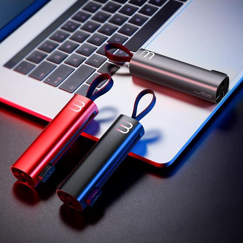 【几素】三合一数据线一拖三短苹果x充电器线安卓快充type-c通用多功能收纳车载  X5