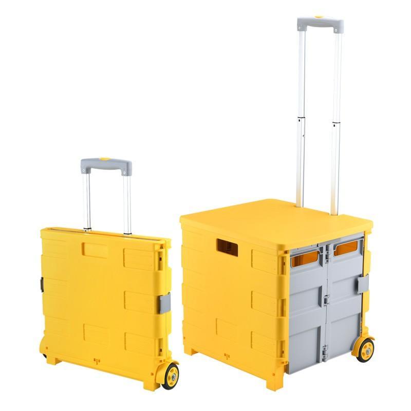 【爱车屋】 多功能折叠购物车 便携拉杆筐超市小拉车 家用车载折叠收纳箱D-3022