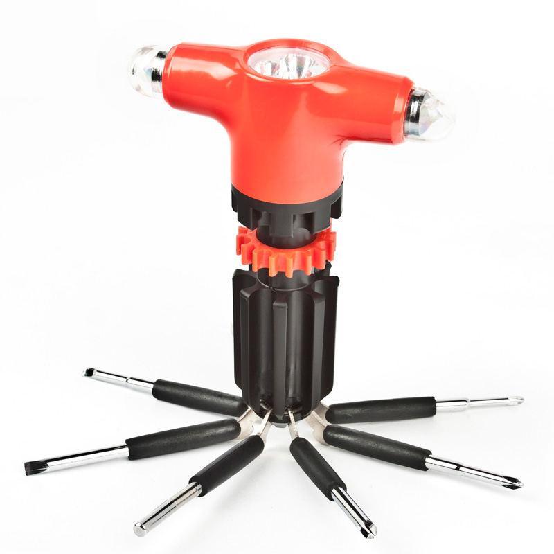 【爱车屋】多功能车用救生锤安全锤逃生锤 照明灯 7支不同规格螺丝起子工具 I-6002