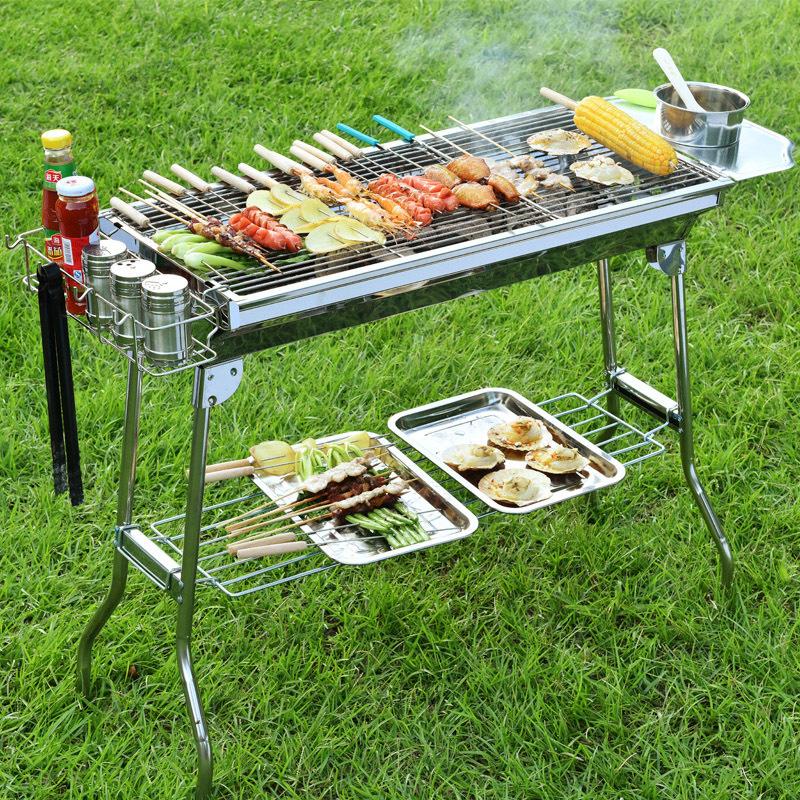 原始人大号烧烤炉不锈钢户外木炭烧烤架折叠便携碳烤炉5人以上