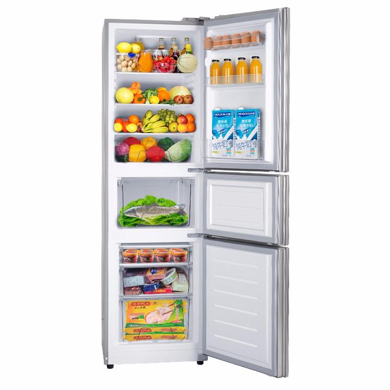【美的】(Midea) 220L直冷小冰箱 三开门电冰箱 节能低耗持久保鲜 BCD-220TM银色