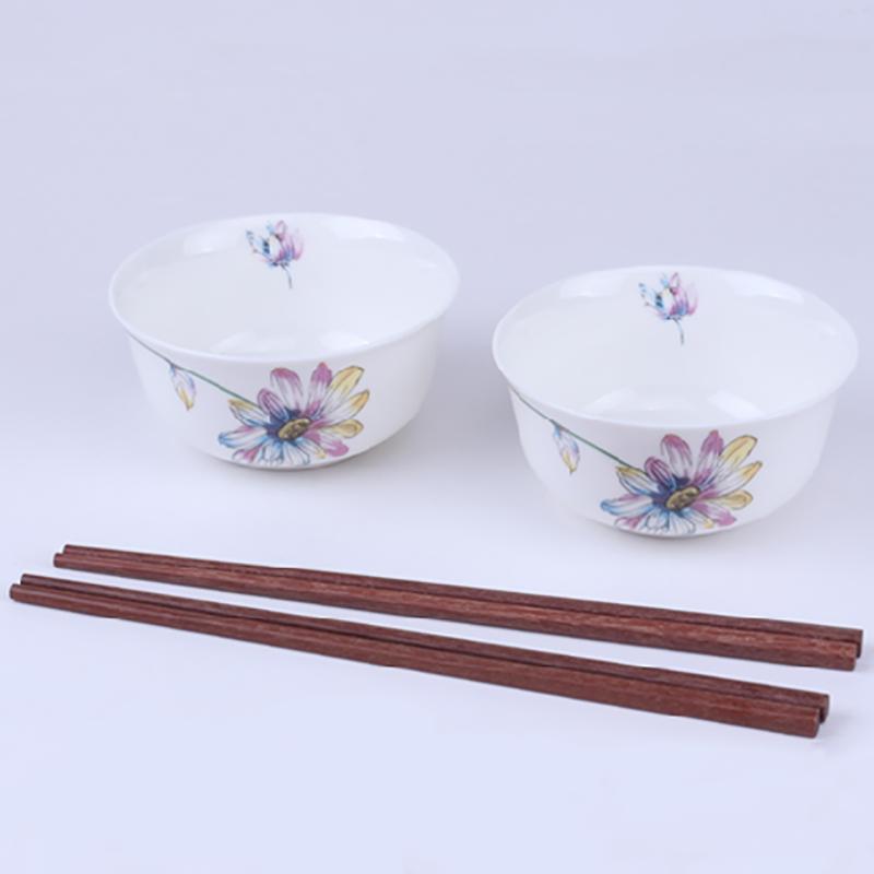【盛世唐韵】骨质瓷餐具4头餐具套装花之魅  2碗2筷 TY-0004