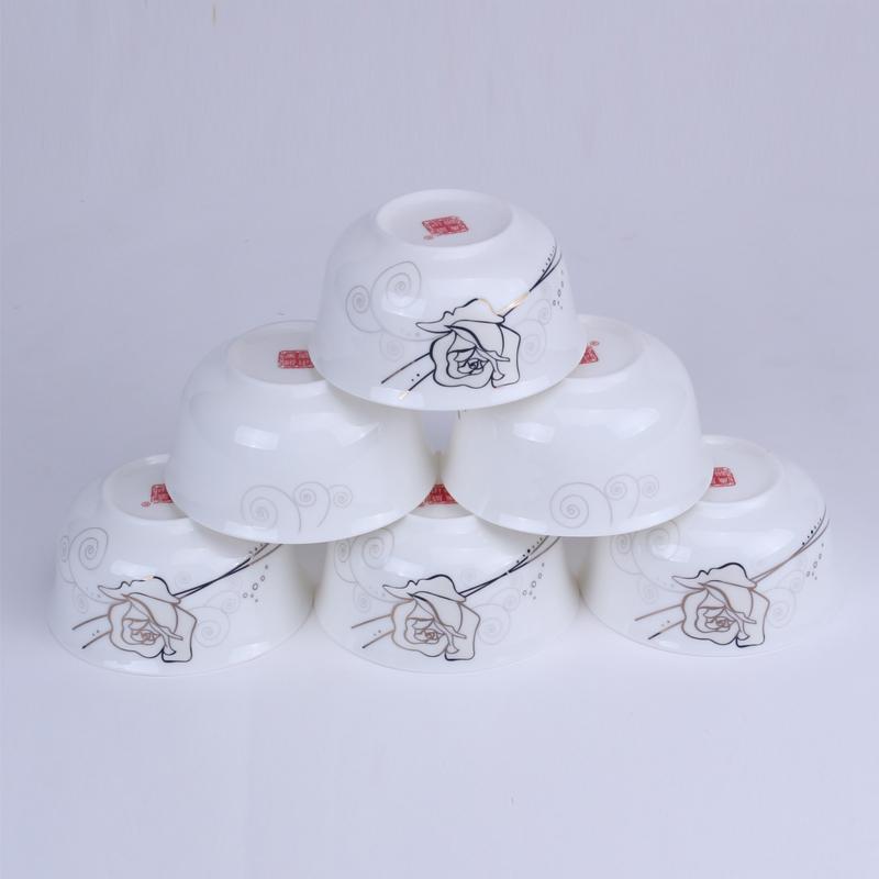 【盛世唐韵】骨质瓷餐具6头餐具套装金丝玫瑰 TY-0006