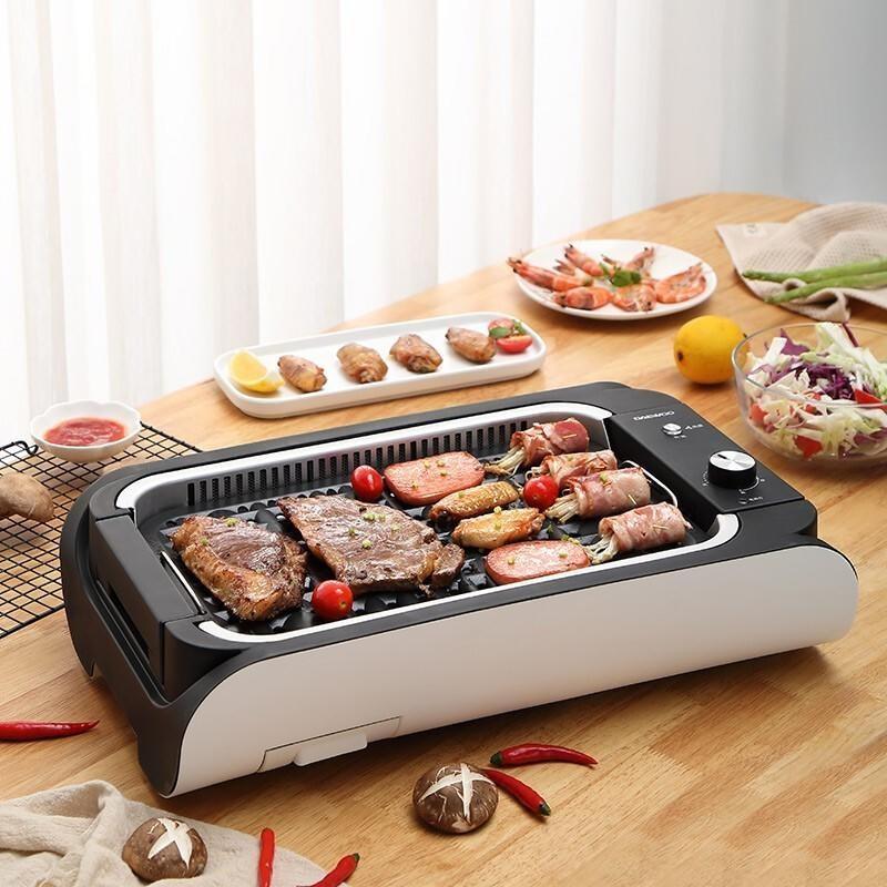 【大宇】DAEWOO电烧烤炉家用电烤炉无烟烧烤多功能电烤盘韩式烤肉机适合3-5人 - DYSK-S140