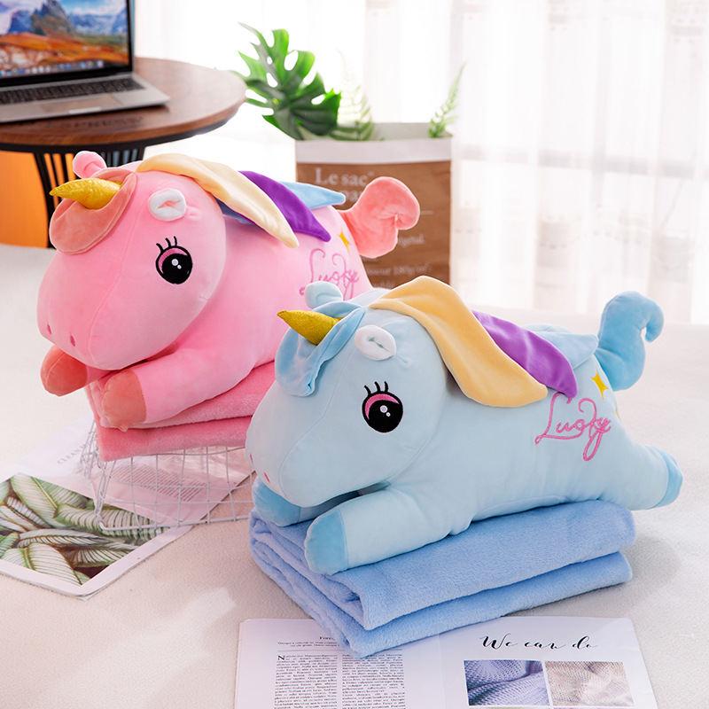彩虹独角兽化妆鸭抱枕被卡通多功能二合一法兰绒空调毯