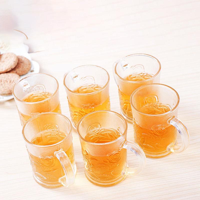 玫瑰杯六件套 带把手透明杯磨砂玻璃杯玫瑰对杯两件套