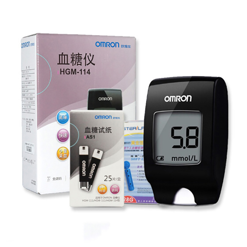【欧姆龙】(OMRON)血糖仪试纸 家用医用免调码血糖仪试纸 血糖套餐HGM-114