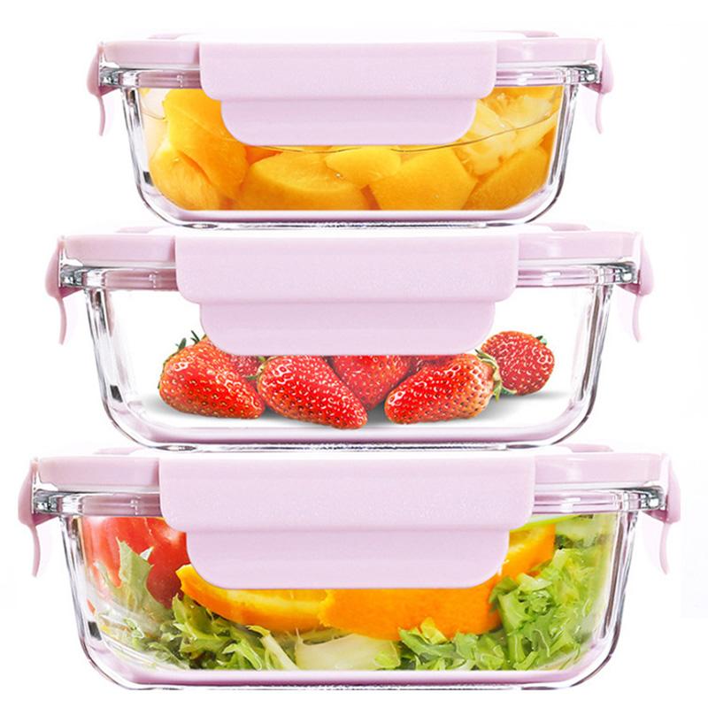 玻璃饭盒可微波炉加热分隔保鲜碗
