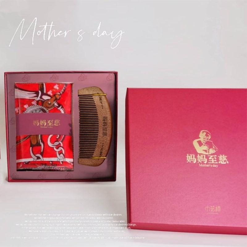 母亲节礼品丝巾红檀木梳套装