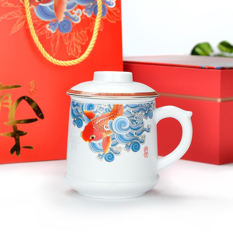 【颐和源】吉祥有余哑光老板杯YHY-YYY003A/水杯两件套YHY-YYY002A/茶具六件套YHY-YYY001A