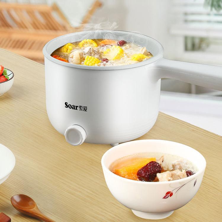 索爱多用途电煮锅麦饭石白瓷不沾内胆ML-308