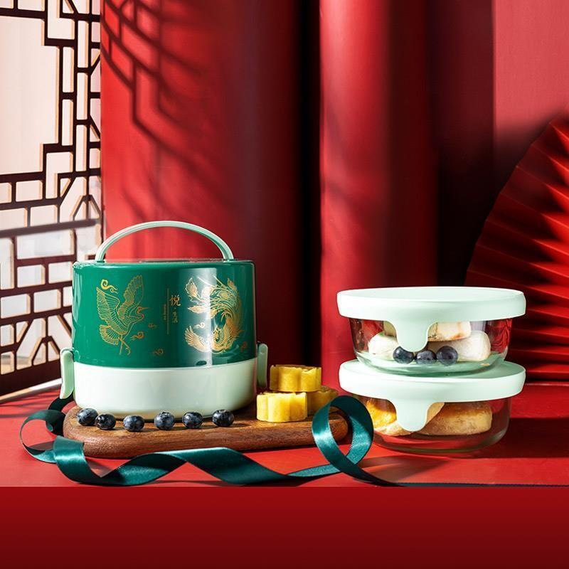 【so.home】菁萃耐热玻璃便当盒一体套装国风便当盒复古便当盒S168-1