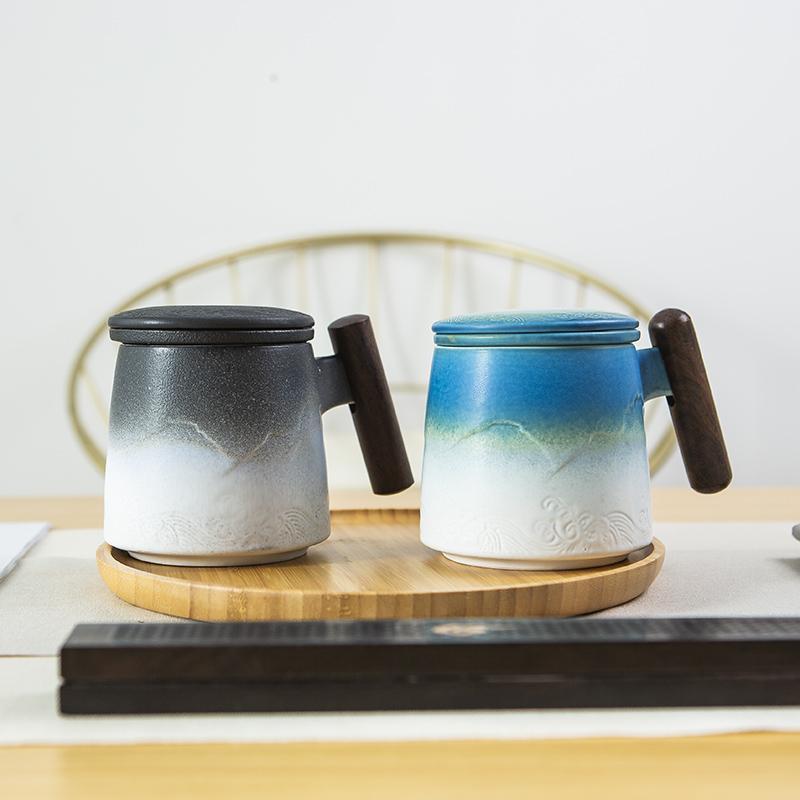 【古时候】瓷器山水系列居家旅行线上电玩便携泡茶具马克杯G04