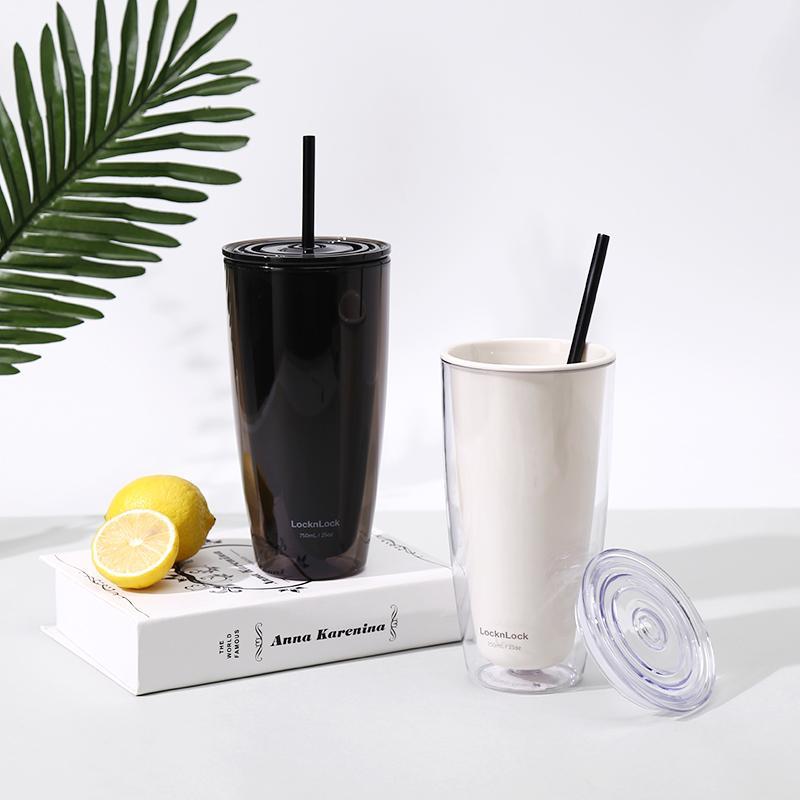 【乐扣乐扣】双层简约桌面办公学生男女吸管塑料杯白色HAP509IVY/BLK