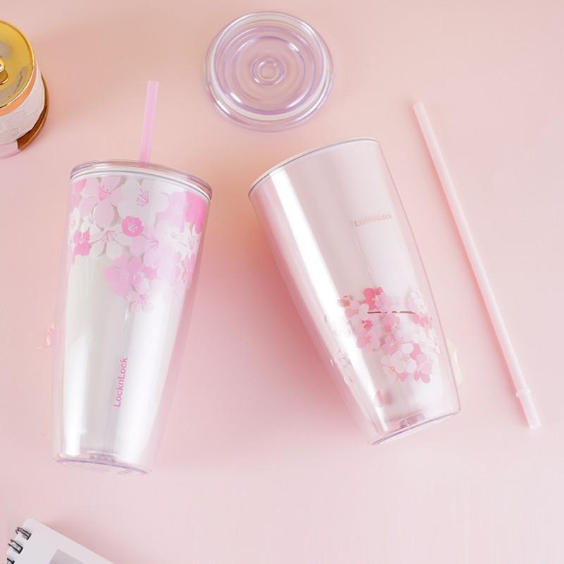 【乐扣乐扣】樱花塑料吸管杯男女学生便携随手茶水杯HAP509PIK /WHT