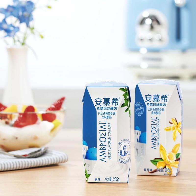 【伊利】安慕希酸奶原味常温酸奶希腊风味奶205g*12盒/箱