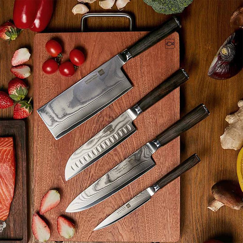 【火候】大马士革切菜切肉刀具复合钢锋利耐腐蚀不易变形多功能家用刀具套装 HU0068