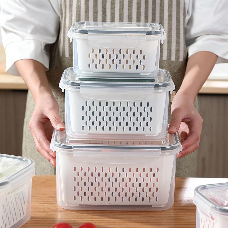 【四喜悠品】日式多功能密封沥水三件套沥水保鲜盒S-261