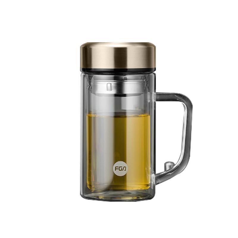 【富光】双层玻璃杯办公泡茶杯带把隔热便携FAB3502-380