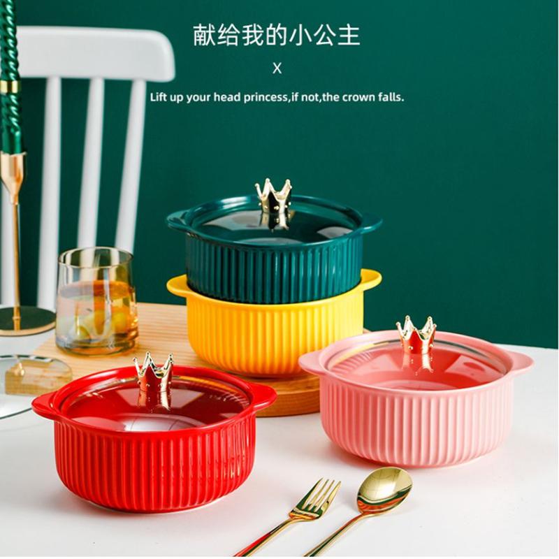 北欧陶瓷皇冠泡面碗带盖学生宿舍创意面碗礼盒装