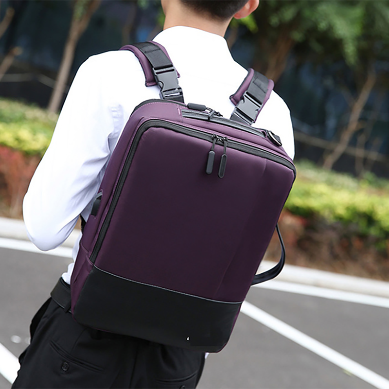 商务双肩包电脑背包男士高中学生书包充电双肩包M8077