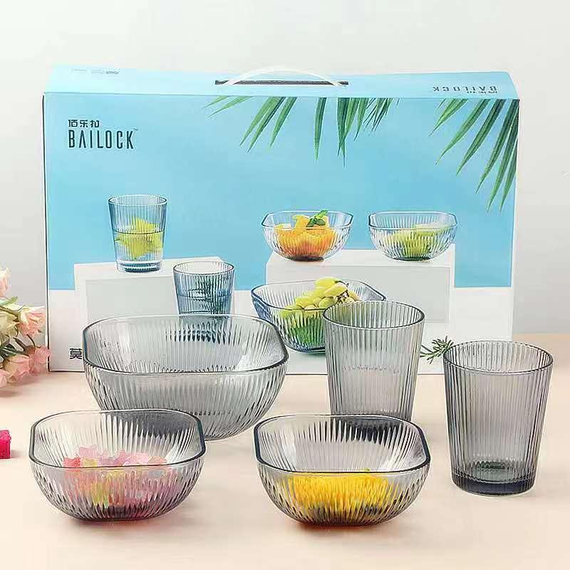 家用玻璃水杯创意竖纹创意餐具方圆碗套装家用竖纹玻璃杯沙拉碗