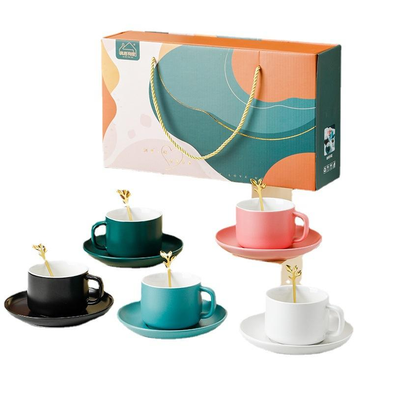 哑光咖啡杯碟陶瓷礼盒装套装A/套装B