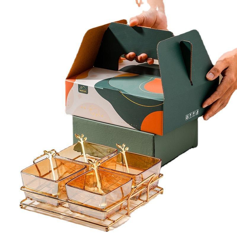 铁艺架玻璃小吃碟礼盒装