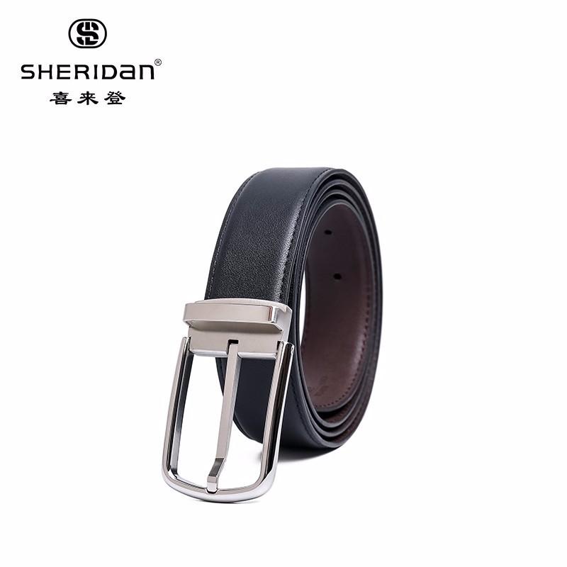 【喜来登】男士腰带头层牛皮商务皮带男士针扣腰带男士皮带NL180952S 黑色
