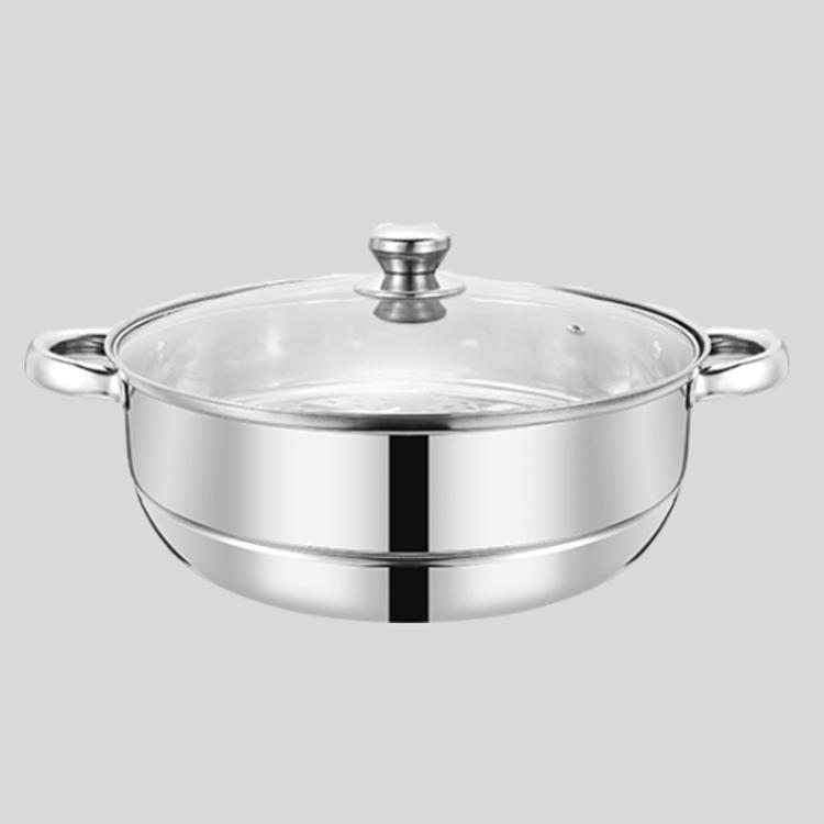 不锈钢汤蒸锅可透视玻璃盖蒸锅MKG614