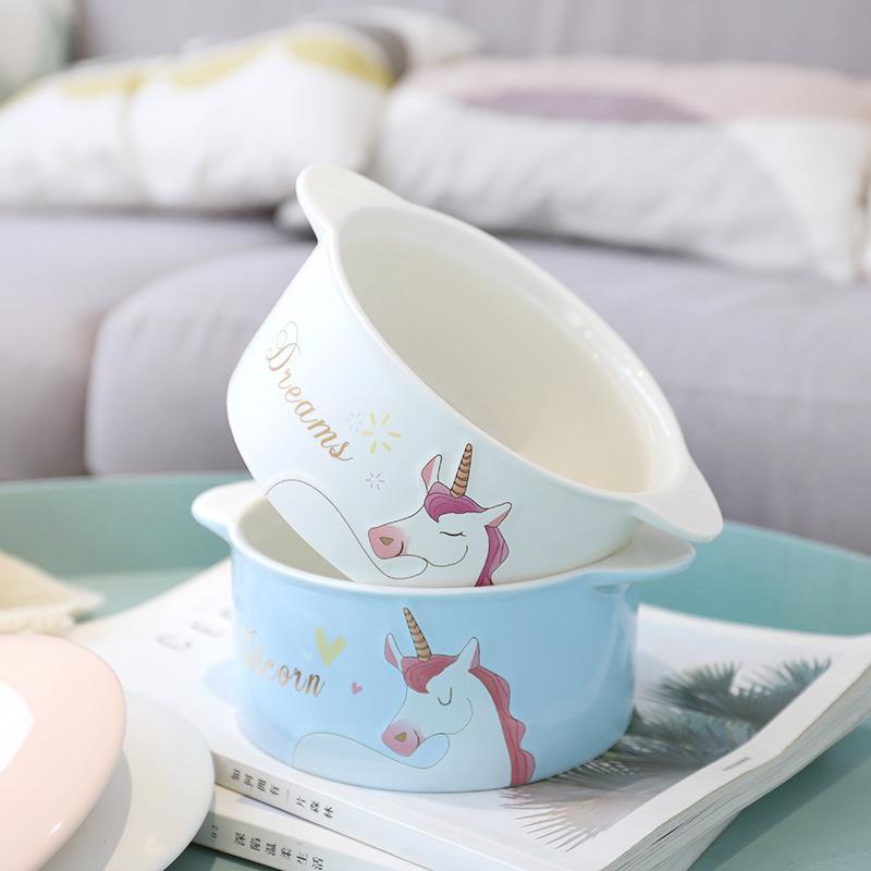 独角兽泡面碗大号可爱陶瓷碗方便面卡通汤碗带盖家用