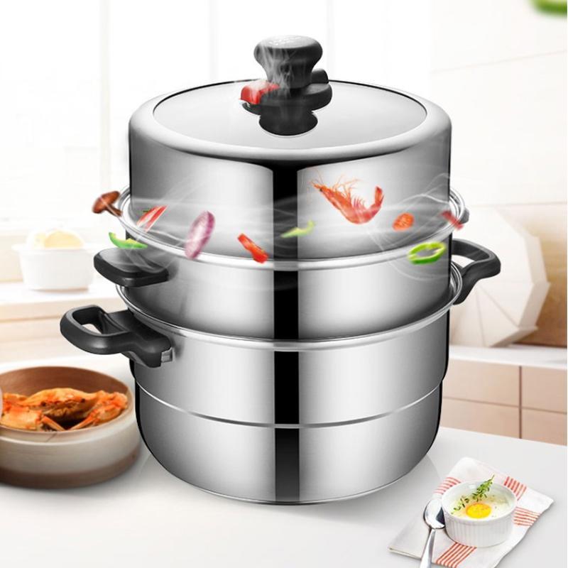 【炊大皇】可调压不锈钢三层蒸锅健康节能CK82466