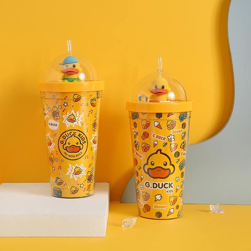 G.DUCK小黄鸭潮酷弹跳塑料杯水杯G.8902
