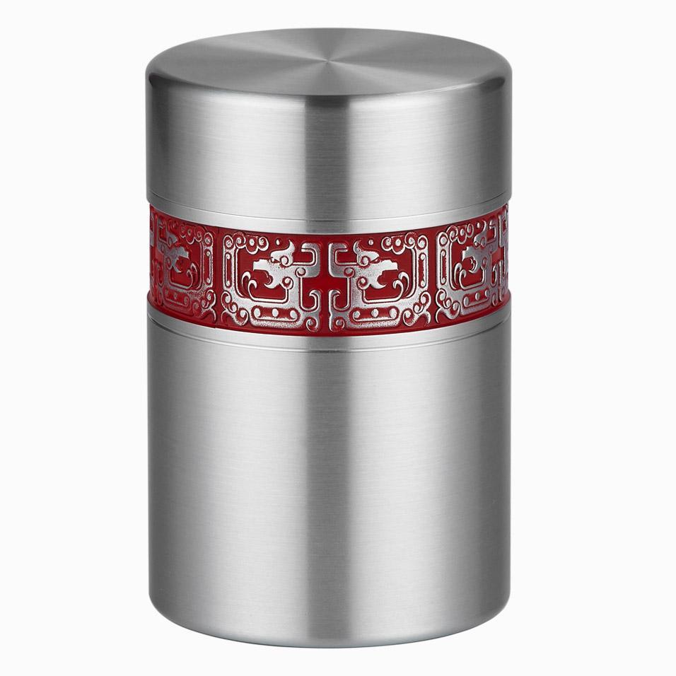 【廖达锡器】品牌纯锡茶叶罐密封罐茶筒金属贮茶罐中式茶叶存储保鲜茶具龙罐CH1155