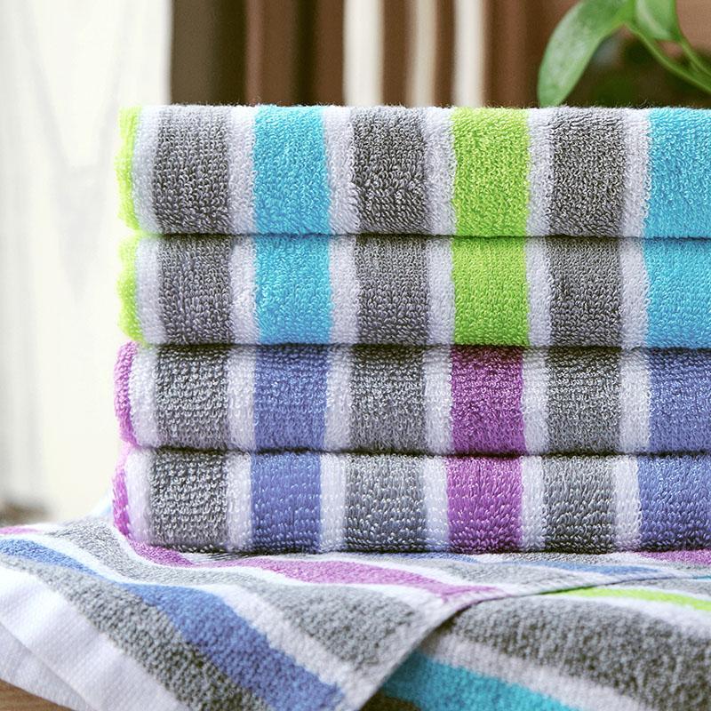 爱竹人单条条纹毛巾(磨砂袋)竹浆竹纤维毛巾家用柔软面巾AZR-004