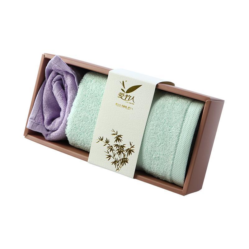 爱竹人豆沙透明盒1竹浆竹纤维毛巾家用柔软面巾AZR-012