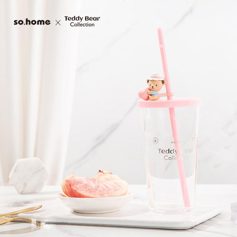 【so.home】泰迪珍藏玻璃吸管杯吸管杯可爱萌宠水杯学生玻璃水杯耐热玻璃水杯C718-40