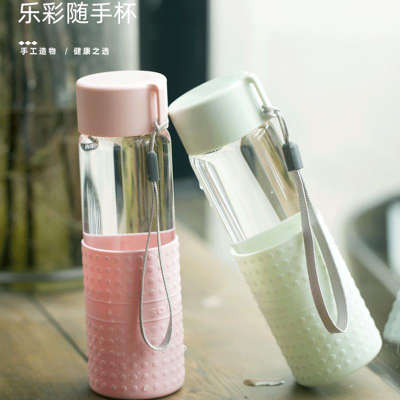 【so.home】便携玻璃杯车载水杯防烫玻璃杯300ML乐彩随手杯套装(2只装)C145-300-2