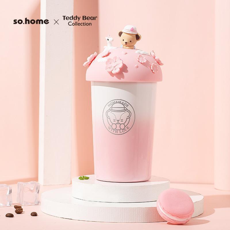 【so.home】泰迪珍藏暖手杯泰迪珐琅杯不锈钢樱花咖啡杯粉色咖啡杯C511-407