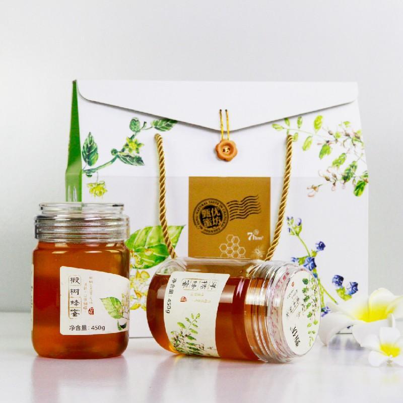 【甄优】450g椴树蜜洋槐蜜荆条蜜枣花蜜纯蜂蜜二合一礼盒/四合一礼盒