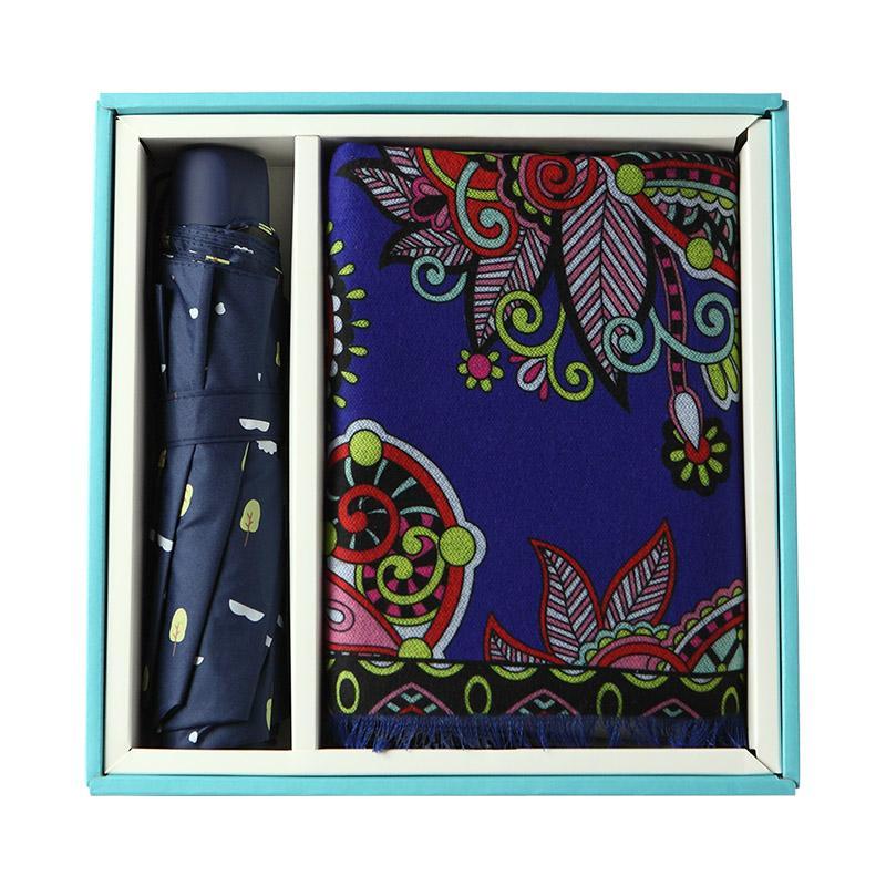 【爱竹人】蓝色小礼盒10竹纤维披肩吸汗透气经典时尚款商务礼盒套装AZR-085