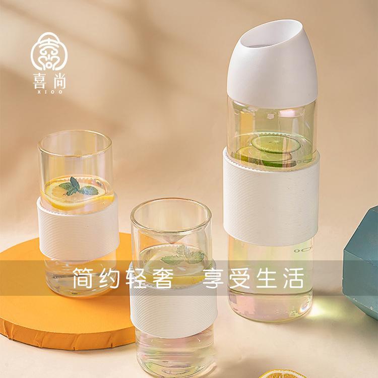 喜尚过滤耐高温凉冷水透明果汁饮料炫彩金银多用水具三件套