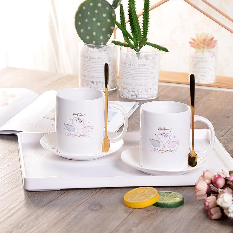 马克杯天鹅咖啡杯碟陶瓷杯2杯2盘2勺