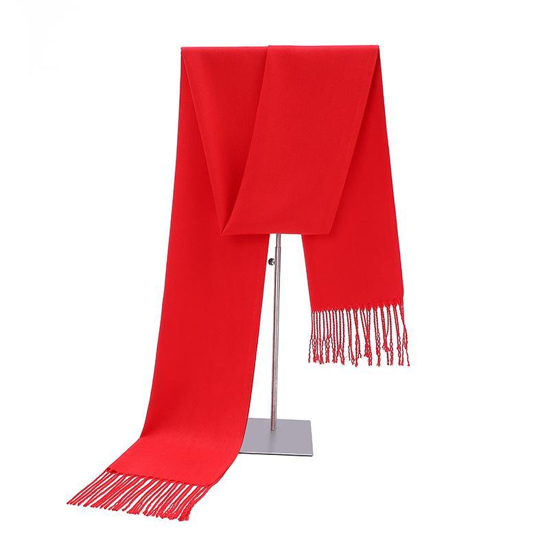 中国红围巾大红色仿羊绒围巾围脖