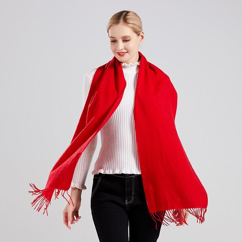 【丝语棠】虎年摇粒绒开门红围巾中国红男女通用SZGH01