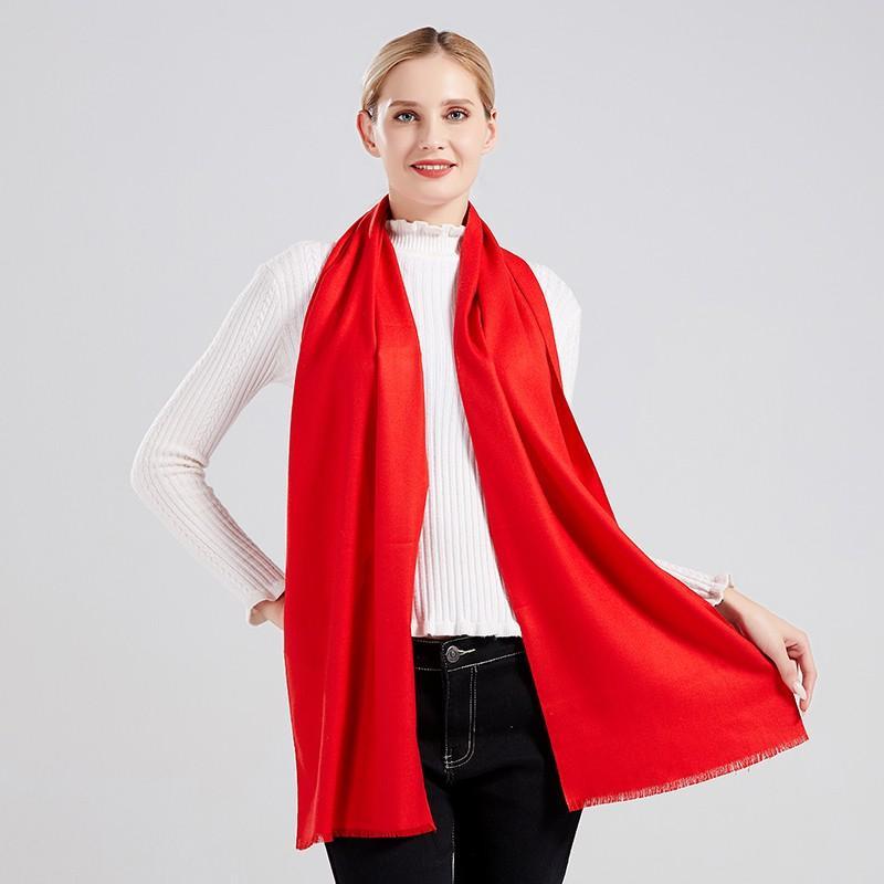 【丝语棠】仿羊绒短须开门红中国红男女通用款围巾SZGH02