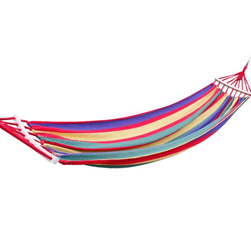 【易旅】 单人帆布吊床 户外休闲秋千 公园露营野餐彩条加厚帆布降落伞布